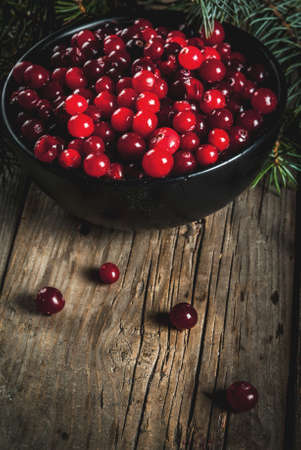 Autumn harvest, seasonal berries. Fresh raw cranberries in a black bowl, with Christmas tree branches, on an old wooden village table, copy space