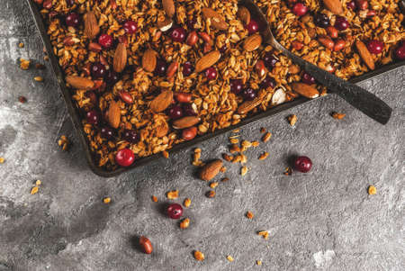 Ideas for a winter, autumn breakfast. Thanksgiving, Christmas. Homemade fresh cooked honey granola with nuts (almonds, peanuts, hazelnuts) and cranberries. On a gray concrete table, Copy space
