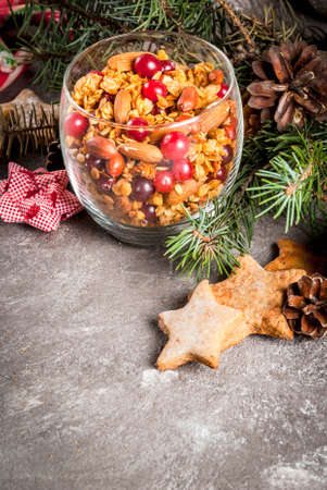 Ideas for a winter, autumn breakfast. Thanksgiving, Christmas. Homemade fresh cooked honey granola with nuts (almonds, peanuts, hazelnuts) and cranberries. In glass, gray table, Copy space Banque d'images
