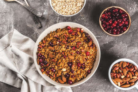 Ideas for a winter, autumn breakfast. Thanksgiving, Christmas. Homemade fresh cooked honey granola with nuts (almonds, peanuts, hazelnuts) and cranberries. On gray concrete table, Copy space top view
