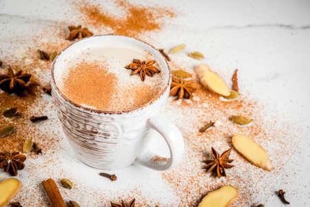 伝統的なインドのマサラ チャイ紅茶スパイス ・ シナモン、カルダモン、アニス、白い背景を持つ。コピー スペース 写真素材