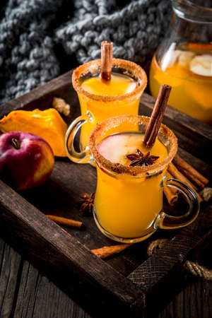 Halloween, Thanksgiving. Traditional autumn, winter drinks and cocktails. Spicy hot pumpkin sangria, with apple, cinnamon, anise. In tray, rustic wooden table, glass mugs. Selective focus copy space Stock Photo - 87960068