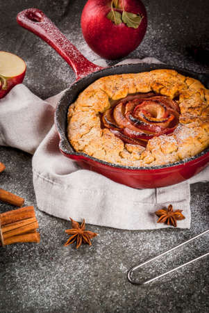 Traditional autumn baking, recipes for thanksgiving, Homemade wholegrain apple galette pie with organic apples and cinnamon, In iron cast pan, black stone table, copy space