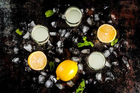 伝統的なイタリア酒自家製、新鮮な柑橘類、氷、ミント、さびたの黒いテーブルの上のレモン リキュール リモンチェッロ コピー スペース平面図