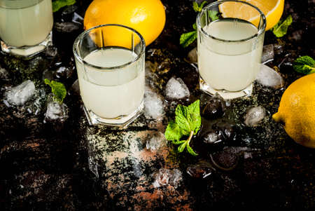 Traditional italian alcoholic homemade beverage, lemon liqueur limoncello with fresh citrus, ice and mint, on rusty black table, copy space
