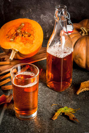 Autumn superfoods. Healthy diet vegan Pumpkin Pie Kombucha with ingredients on black stone table copy space