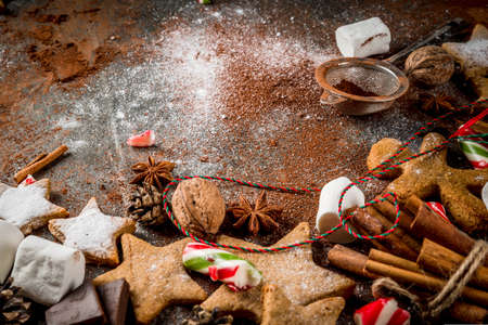 New Year, Christmas treats, sweets. Cup of hot chocolate with fried marshmallow, ginger star cookies, gingerbread men, striped candy, spices cinnamon anise, cocoa, powdered sugar.  Copy space Lizenzfreie Bilder