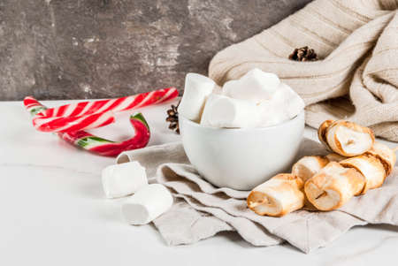 Traditional christmas sweets - candy cane, marshmallow and baked on fire marshmallow skewers on white background, copy space Lizenzfreie Bilder