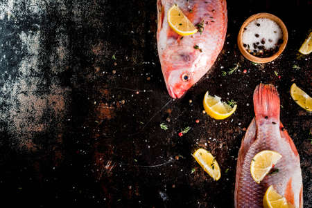 Fresh raw fish pink tilapia with spices for cooking - lemon, salt, pepper, herbs, on  black rusty metal table, copy space top view Banco de Imagens