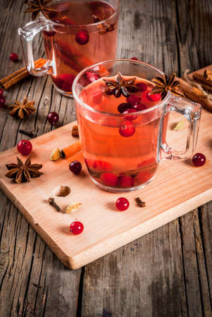 Hot autumn drink, fruit spicy tea with cranberry, cinnamon, anise. On a rustic old wooden table, with ingredients copy space Lizenzfreie Bilder