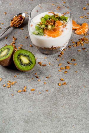 Healthy tangerine and kiwi yogurt granola dessert for breakfast, with ingredients, gray stone table, copy space