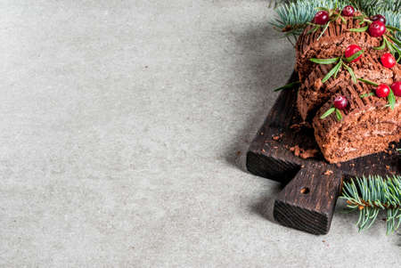 Traditional Christmas dessert, Christmas yule log cake with chocolate cream, cranberry and rosemary twigs. On stone gray background with Christmas tree branches, copy space