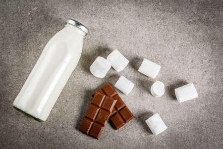 Christmas hot drinks recipes, Set of ingredients for hot chocolate: milk bottle, chocolate, marshmallow. Gray stone background, copy space top view Stock Photo
