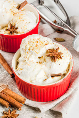 Cold Homemade Eggnog Ice Cream with Cinnamon and anise, on white marble background, copy space