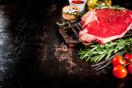 Fresh raw meat, lamb beef marble steak on a grill pan board, with ingredients for cooking. On dark rusty metal table, copy space
