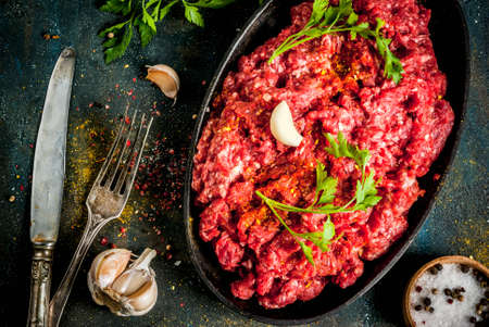 Minced meat with spices and fresh herb on dark table, copy space top view