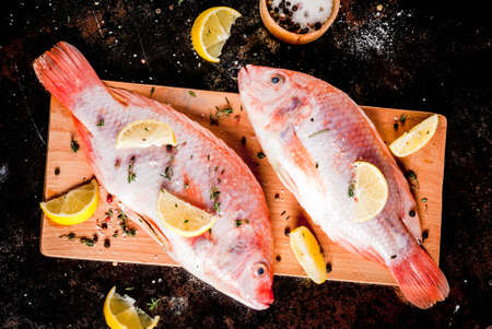 Fresh raw fish pink tilapia with spices for cooking - lemon, salt, pepper, herbs, on  black rusty metal table, copy space top view Standard-Bild