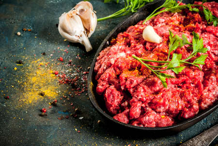 Minced meat with spices and fresh herb on dark table, copy space Stockfoto