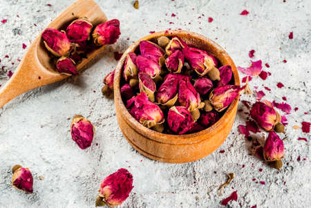 Arab, middle eastern food. Herbal tea with rose buds, copy space