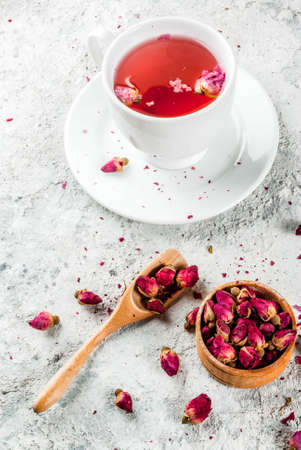 Arab, middle eastern food. Herbal tea with rose buds, copy space