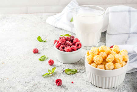 Healthy breakfast ingredients. Breakfast cereal, milk or yogurt glass, raspberries and mint on grey stone background, copy space  Stock Photo