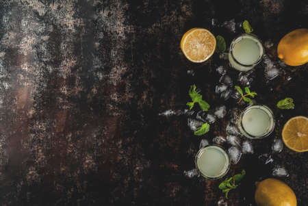 Traditional italian alcoholic homemade beverage, lemon liqueur limoncello with fresh citrus, ice and mint, on rusty black table, copy space top view Stock Photo - 96378353