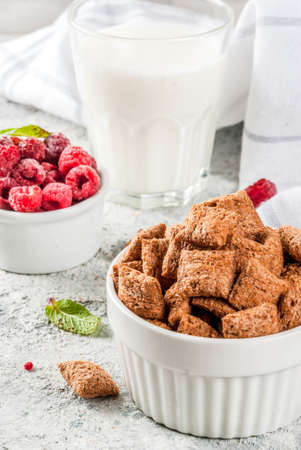 Healthy breakfast ingredients. Breakfast cereal, milk or yogurt glass, raspberries and mint on grey stone background, copy space Stok Fotoğraf