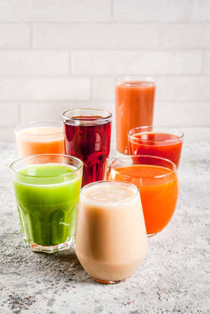 Healthy Food Concept,  Different Fruit and Vegetables Juices Smoothie  in Glasses