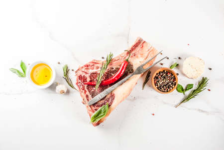 Raw beef marbled meat striplon rib eye steak with spices, herbs, white marble background top view, copy space Фото со стока