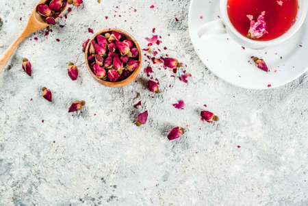 Arab, middle eastern food. Herbal tea with rose buds, copy space top view