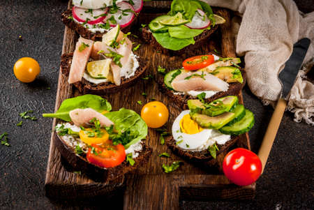 Set of various danish open sandwiches Smorrebrod with fish, egg and fresh vegetables, dark background copy space Stock Photo