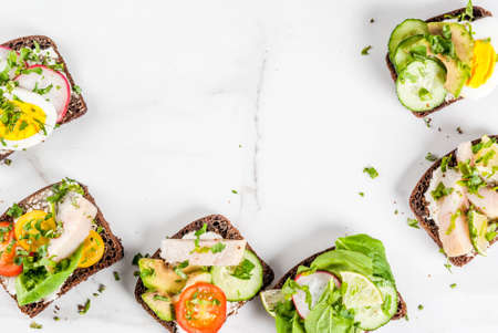 Set of various danish open sandwiches Smorrebrod with fish, egg and fresh vegetables, white marble background copy space top view Imagens