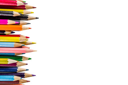 Back to school concept - color pencils isolated on white background