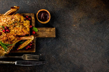 Christmas, thanksgiving food, baked roasted chicken with cranberry and herbs, served with fried vegetables and sauces on dark rusty table, copy space above Stock Photo