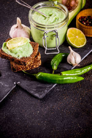 Mexican food, guacamole with rye toasts sandwiches on dark background, copy space