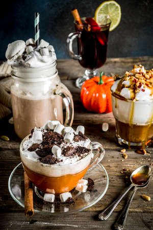 Autumn winter warm drinks, hot chocolate, pumpkin latte, caramel and peanut coffee latte, mulled wine, cozy dark background copy space Stok Fotoğraf