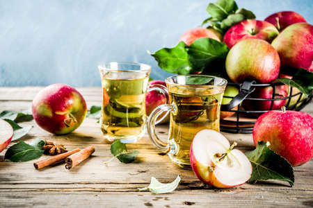 Homemade apple cider with cinnamon and anise spices, with fresh apples on wooden rustic background copy space