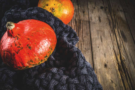 Cozy autumnal background, old rustic wooden table with a warm blanket and pumpkins, copy place for text Stock Photo