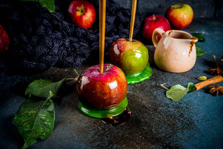 Traditional autumn delicacy, apples in caramel glaze. On a dark background, with apples, leaves, caramel sauce and a warm blanket. Copy space for text Banque d'images - 106103494