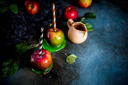 Traditional autumn delicacy, apples in caramel glaze. On a dark background, with apples, leaves, caramel sauce and a warm blanket. Copy space for text Banque d'images - 106103493