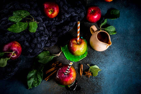 Traditional autumn delicacy, apples in caramel glaze. On a dark background, with apples, leaves, caramel sauce and a warm blanket. Copy space for text Banque d'images - 106103492