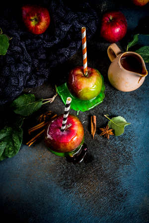 Traditional autumn delicacy, apples in caramel glaze. On a dark background, with apples, leaves, caramel sauce and a warm blanket. Copy space for text Banque d'images - 106103496