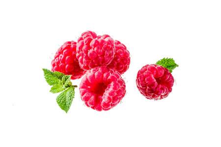 Raw fresh raspberry isolated on white