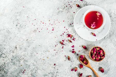 Arab, middle eastern food. Herbal tea with rose buds, copy space top view