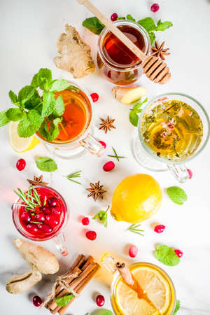 Various autumn winter herbal fruit and berry tea, with cranberry, mint, rosemary, lemon. lime. flowers, medical herbs and spices. top view copy space Stock Photo