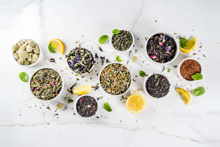 Assortment of various dry tea - classic black and green, flower, fruit, berry and herbal tea blends, with lemon and mint, White marble background copy space top view Stock Photo