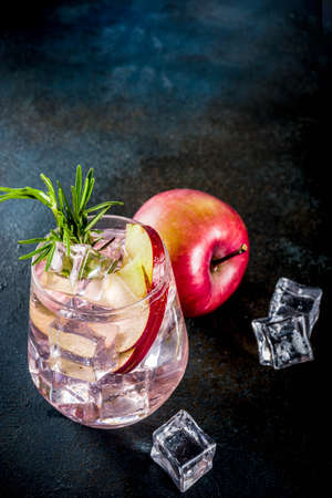 Autumn winter seasonal alcohol cocktail Apple Rosemary beverage, dark blue background copy space Stock fotó - 108227500