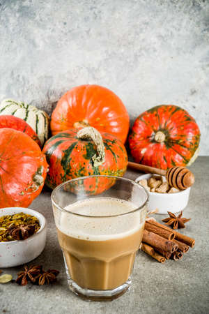 Traditional autumn winter drink, spicy pumpkin coffee latte with cinnamon, anise, carnation, cane sugar, on a gray concrete background with pumpkins, copy space