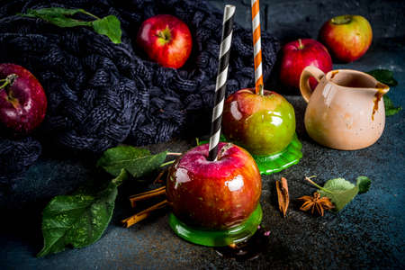 Traditional autumn delicacy, apples in caramel glaze. On a dark background, with apples, leaves, caramel sauce and a warm blanket. Copy space for text Banque d'images - 109320271
