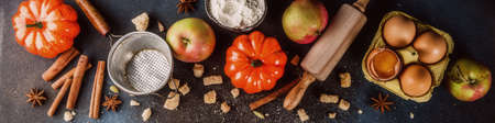 Sweet autumn baking concept, cooking background with baking accessories, flour, rolling pin, decorative pumpkins, apples, cinnamon spices with anise cardamom sugar. Dark blue rusty background top view 写真素材